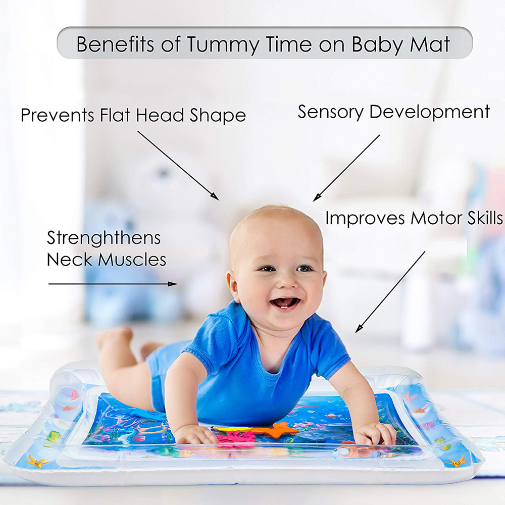 Inflatable Water Mat Infant Toddler Tummy Time Play Pad Growth Stimulation Toy