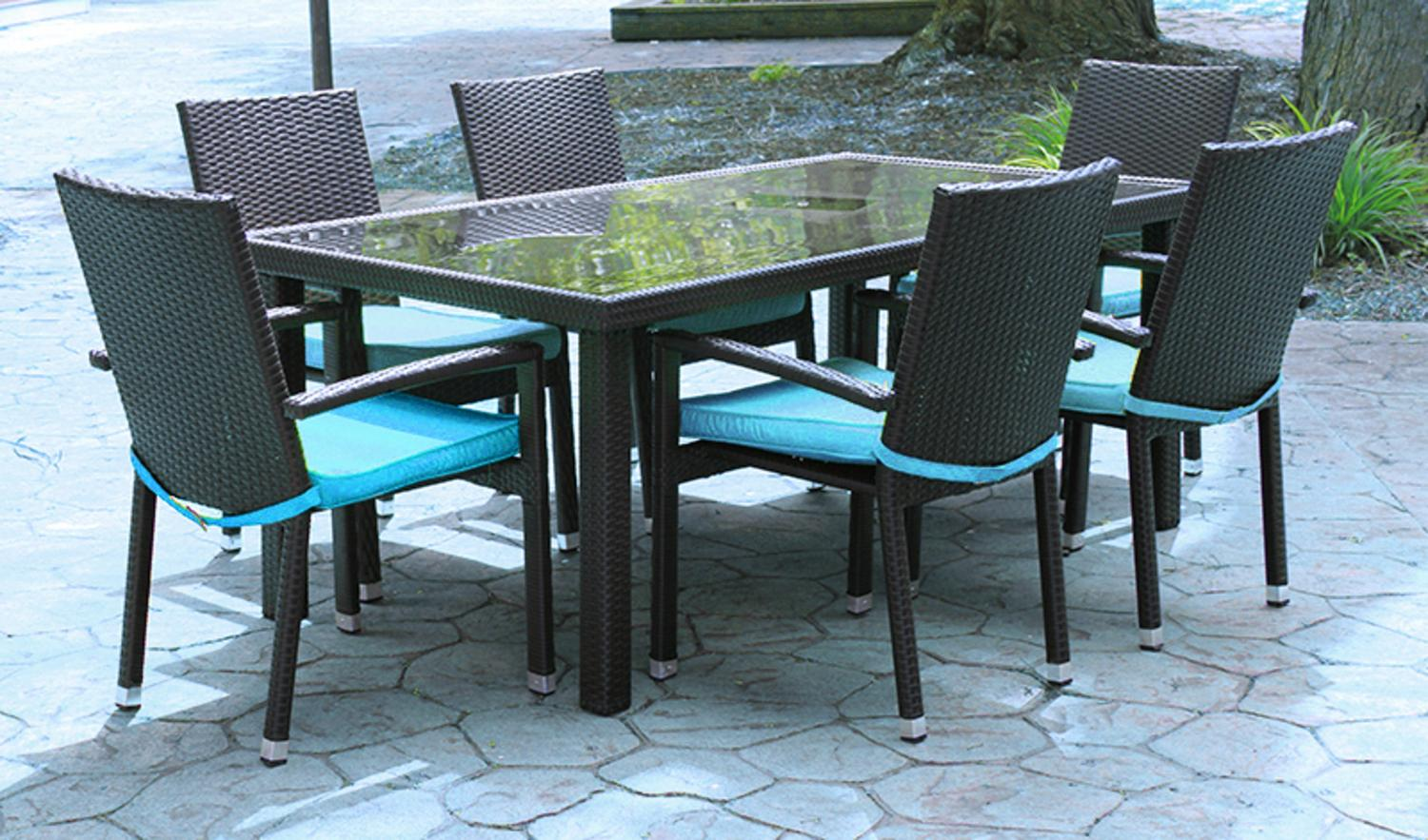 7 Piece Black Resin Wicker Outdoor Furniture Patio Dining Set   Blue  Cushions