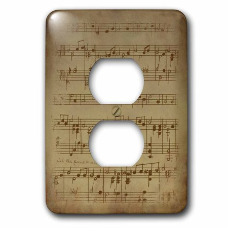 3dRose Vintage Music Sheet Grunge Paper Background - 2 Plug Outlet Cover - Sheet Music Background