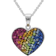 Crystal Fine Silver-Tone Heart Pendant with Chain