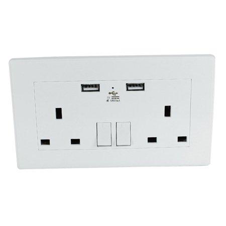 Dual AC 110V-250V UK Socket 2 USB Port DC 5V 4800mA Power Switch ...