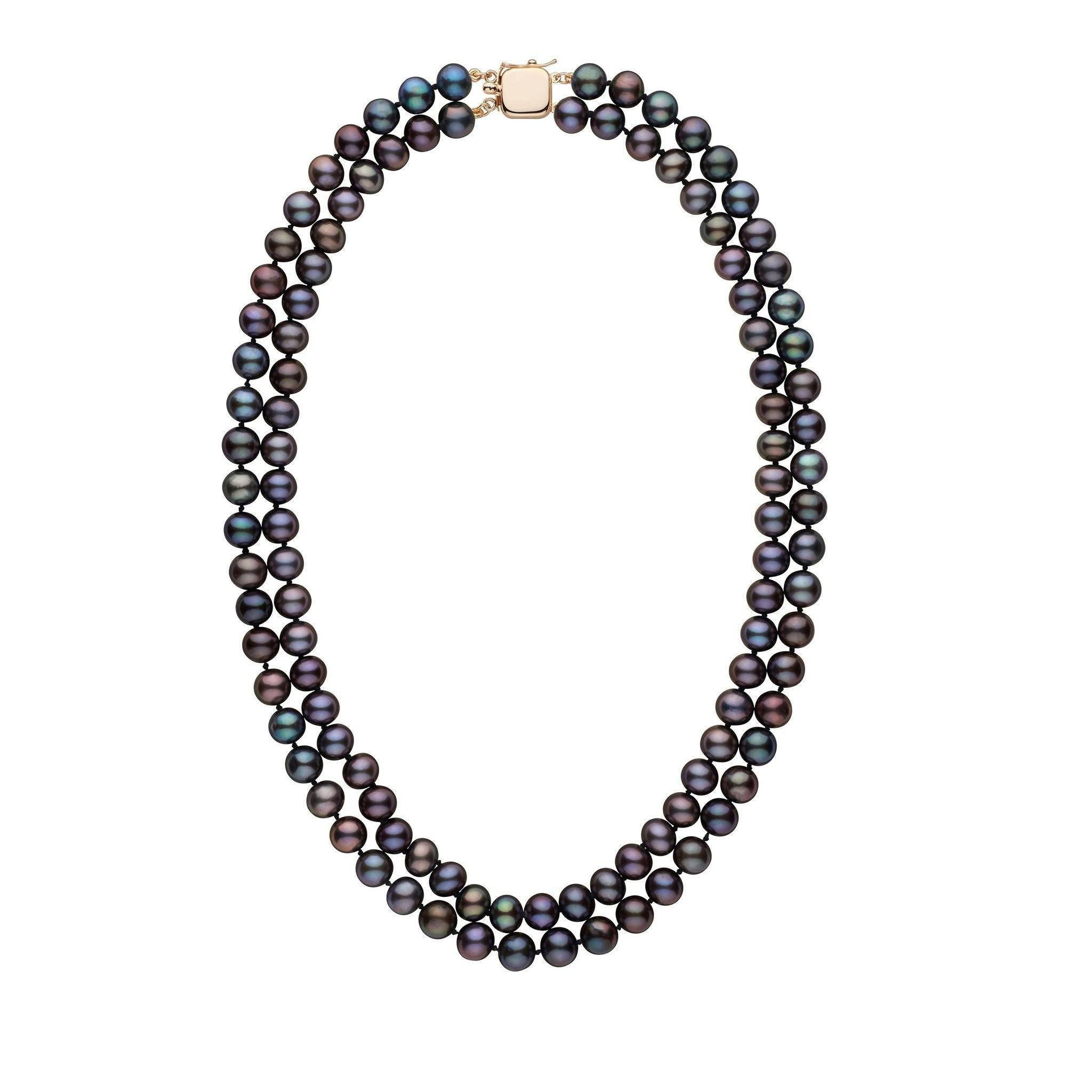 7.5-8.0 mm Double Strand AA+ Black Freshwater Cultured Pearl Necklace by Pearl Paradise