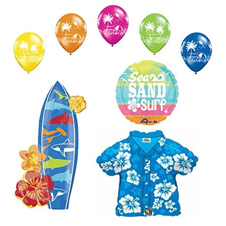 Beach Luau Party Supplies Hawaiian Shirt and Surfboard Balloon Bouquet - Hawaiian Balloon Decorations