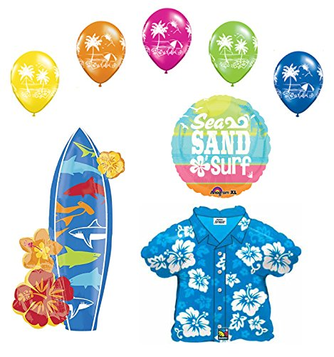 Beach Luau Party Supplies Hawaiian Shirt and Surfboard Balloon Bouquet Decorations