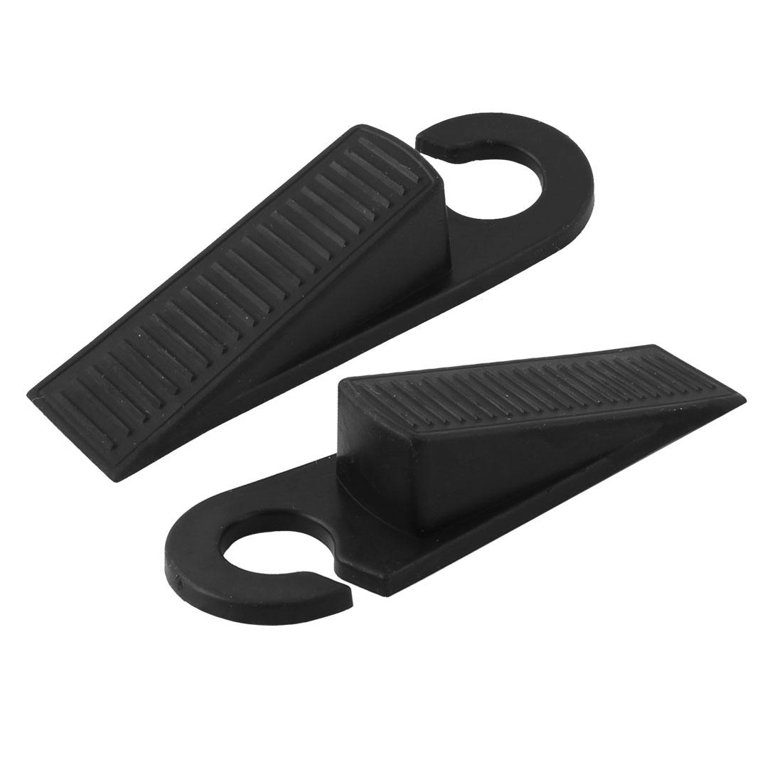 2 Pcs Rubber Anti-slip  Wedge Door Stop Black
