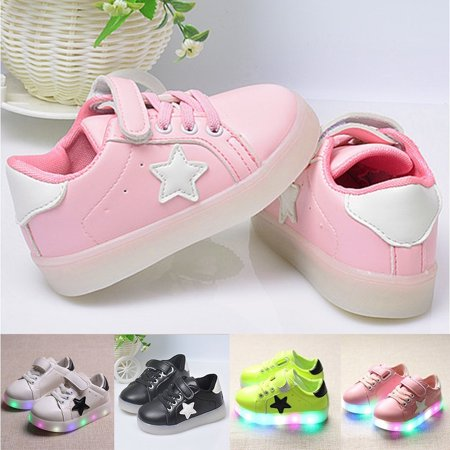 Girls Converse All Stars (ZeAofa LED Light up Kids Infant Star Soft Sole Anti-Slip Baby Boy Girl Shoes)