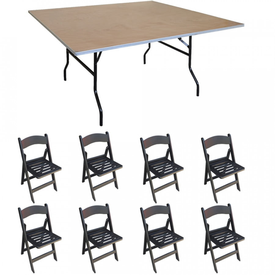 Pogo 48 Quot Square Wood Banquet Folding Table And Chairs