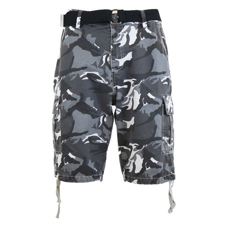Mens Distressed Belted Cotton Cargo Shorts (Express Shorts Mens)