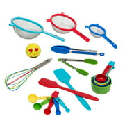 Tasty 19-Piece Kitchen Utensil and Gadget Set, Items Included: Emoji Timer, Measuring Spoon and Cup Set, 2 Silicone Spatulas, Whisk, 2 Tongs, 3 Strainers