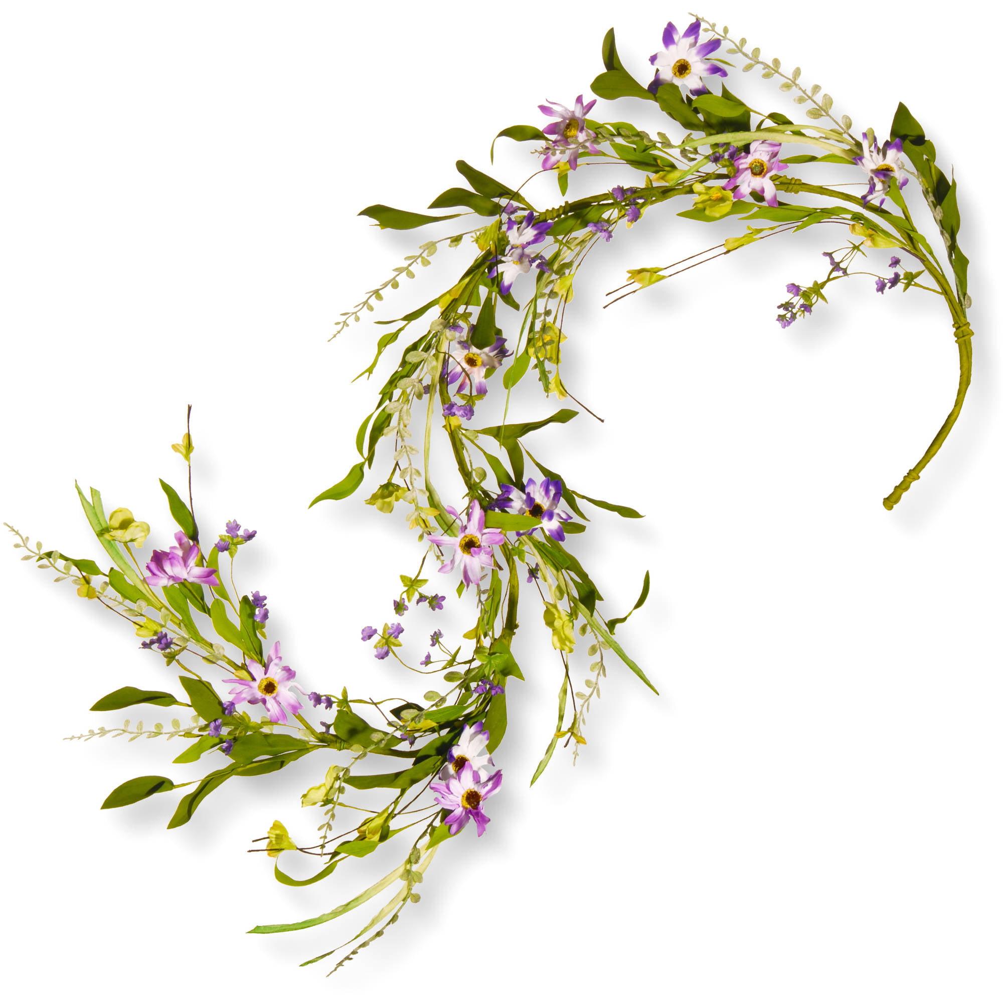 5' Spring Purple Flower Garland