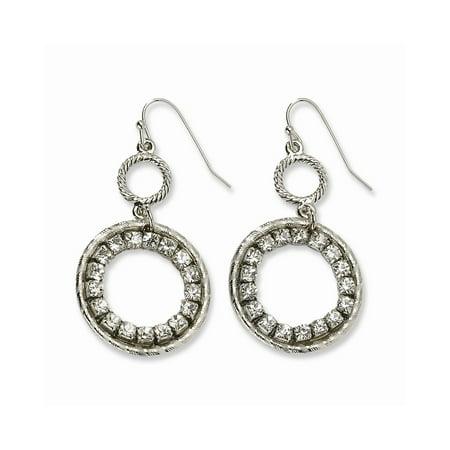 Silver-tone Shepherd hook Clear Crystal Circle Drop Earrings