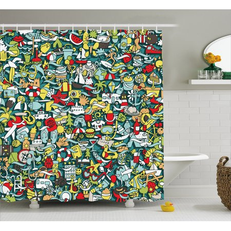 Doodle Shower Curtain Simple Mini Drawings Of Holiday Related Concepts Caravan Compass Lifebuoy Breakfast