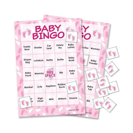 Pink It's a Girl Baby Shower Bingo Game, 24 Players