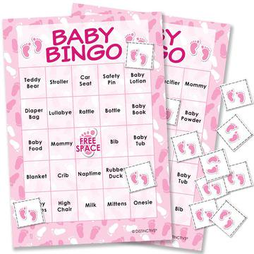 Pink It's a Girl Baby Shower Bingo Game, 24 Players](Twin Baby Shower Games)
