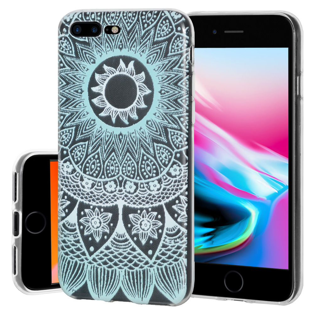iPhone 8 Plus Case, Soft Gel Skin TPU Cover Fashion Style Slim Designer Clear Back Cover - Mandala Turquoise for iPhone 8 Plus , Semi transparent, Flexible, Added Grip