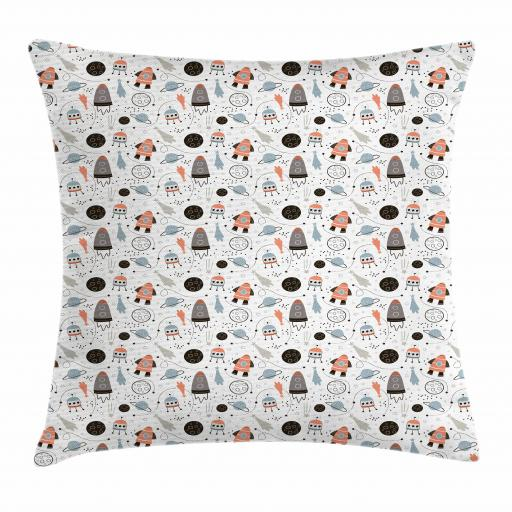 Kids Boys Throw Pillow Cushion Cover, Hand Drawn Outer Space UFO and Spaceship Exploring Stars and Beyond, Decorative Square Accent Pillow Case, 16 X 16 Inches, Pale Blue Coral Black, by Ambesonne