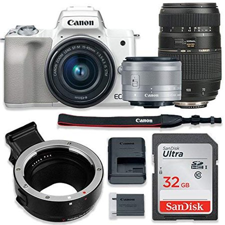 - Canon EOS M50 Mirrorless Digital Camera (White) Bundle w/Canon EF-M 15-45mm IS STM & Tamron 70-300mm Di LD Lenses + Auto (EF/EF-S to EF-M) Mount Adapter + Basic Camera Kit