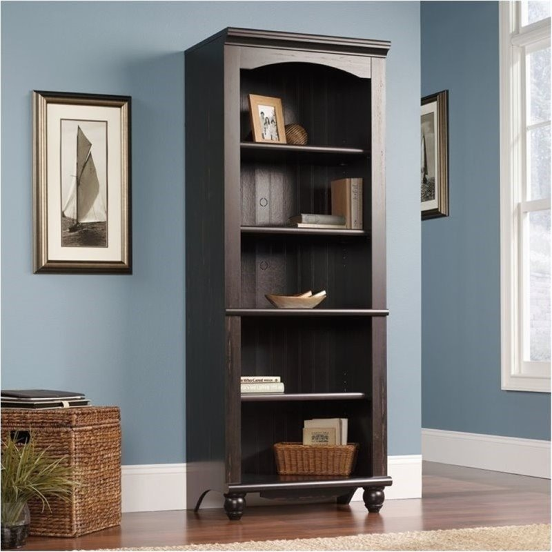 Bowery Hill Library 5 Shelf Bookcase in Antiqued Paint