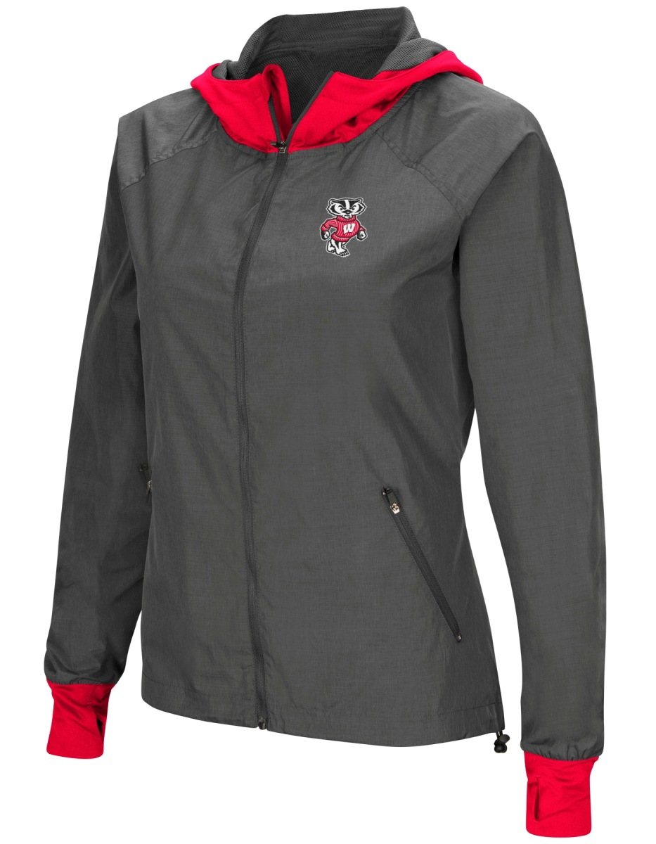 """Wisconsin Badgers NCAA Women's """"Backside"""" Full Zip Hooded Charcoal Jacket by Colosseum"""