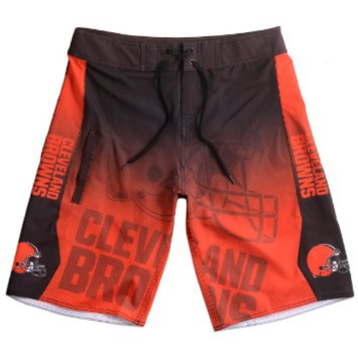 KLEW NFL Cleveland Browns Gradient Board Shorts, Medium, Orange