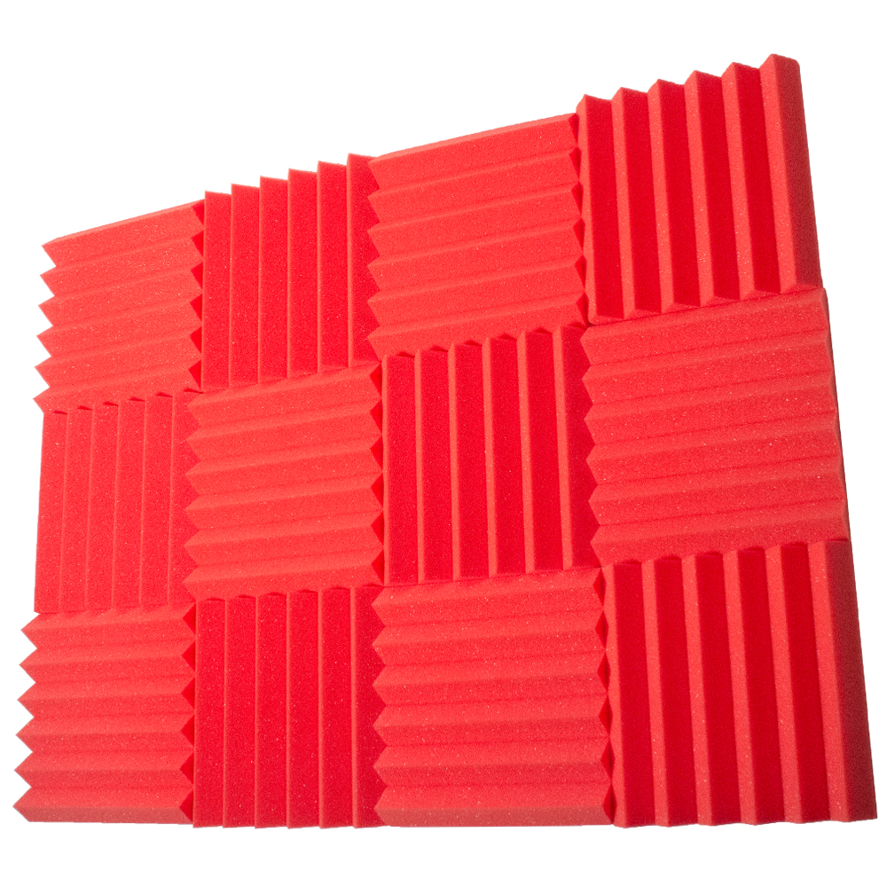 Seismic Audio 12 Pack of Red 2 Inch Studio Acoustic Foam Sheets - Sound Dampening Tiles - SA-FMDM2-Red-12Pack