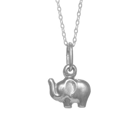 Sterling Silver Elephant Charm Good Luck Pendant Necklace -