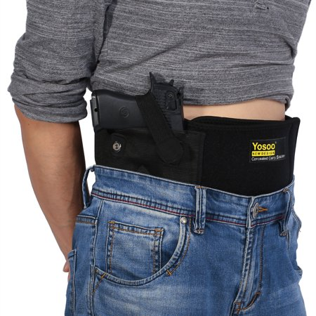 Adjustable Belly Band Gun Holster with Dual Magazine Pouches Magnetic Buckle Concealed Carry up to 44