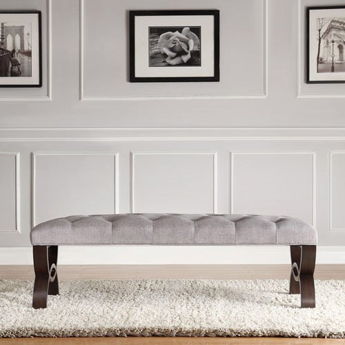 "Chelsea Lane Reynold 48""W Arch Base Bench, Grey Linen"