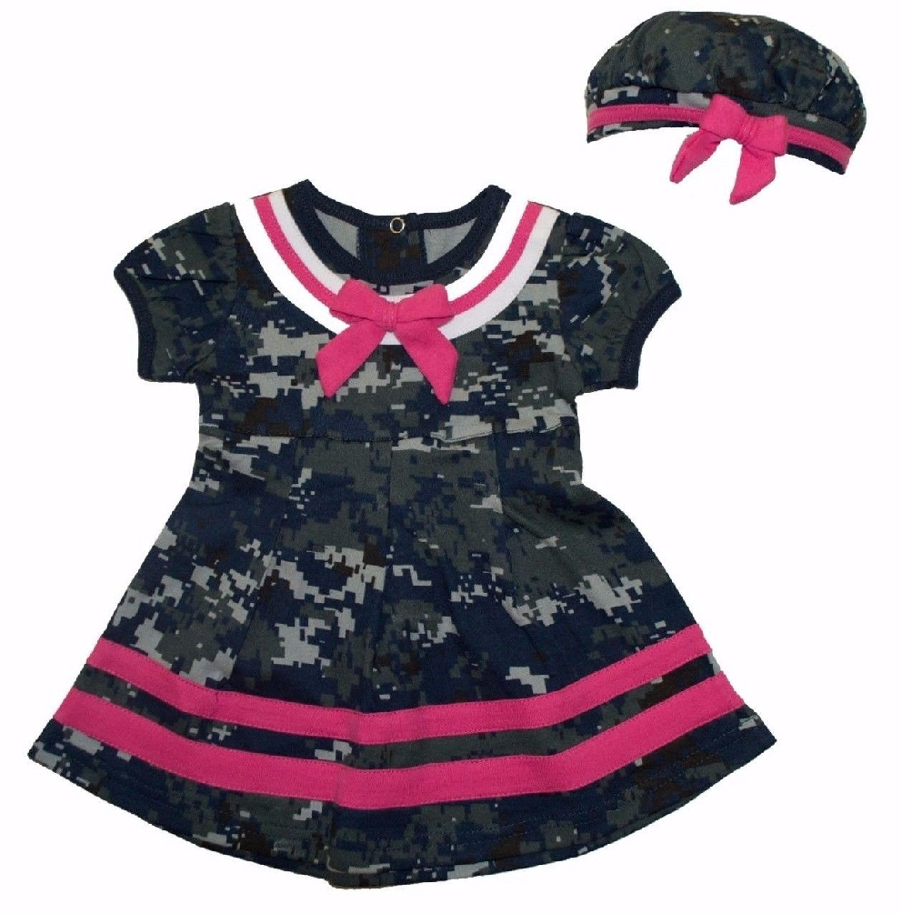 Baby Girls Sailor Nautical 2pc Dress & Beret Hat Camo with Hot Pink Trim (6-9 Month)
