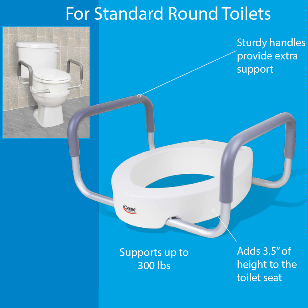 Tremendous Carex Raised Toilet Seat With Handles Standard Round Toilets Adds 3 5 Inches To Toilet Height Toilet Seat Riser For Handicap And Seniors Alphanode Cool Chair Designs And Ideas Alphanodeonline