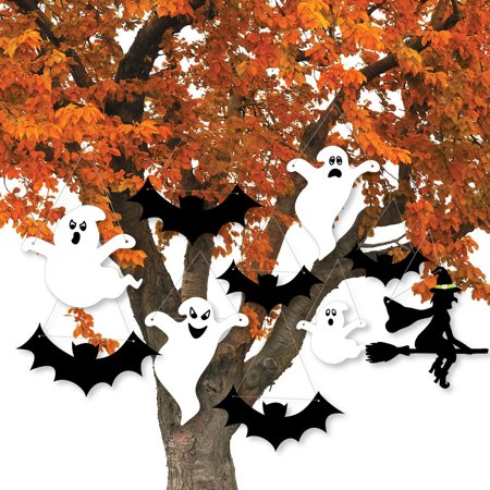 Scary Squad Hanging Porch Decor - Witch, Bats & Ghosts - Outdoor Halloween Porch & Tree Yard Decorations - 10 Pcs