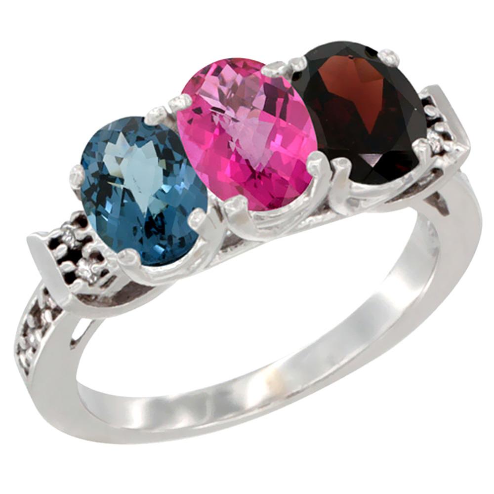 10K White Gold Natural London Blue Topaz, Pink Topaz & Garnet Ring 3-Stone Oval 7x5 mm Diamond Accent, sizes 5 10 by WorldJewels