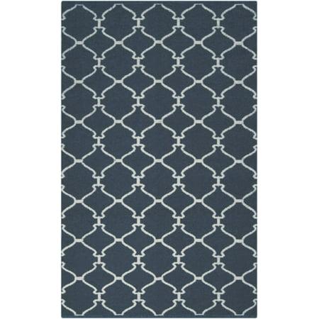 2' x 3' Geometical Genie Majolica Blue and Wheat Hand Woven Wool Area Throw Rug