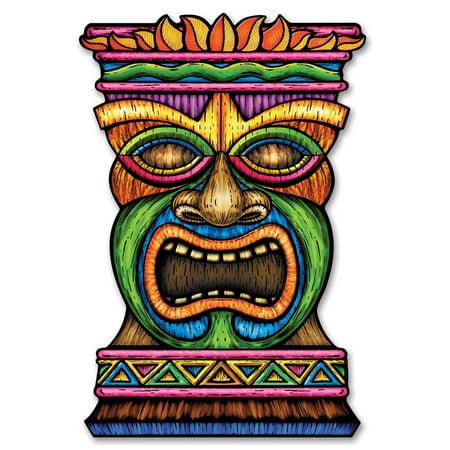 Club Pack of 12 Jumbo Tropical Hawaiian Luau Tiki Cutout Decorations 36
