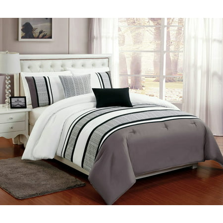 beautiful 5 pc grey white and black comforter bedding set with burnout lace design queen size. Black Bedroom Furniture Sets. Home Design Ideas