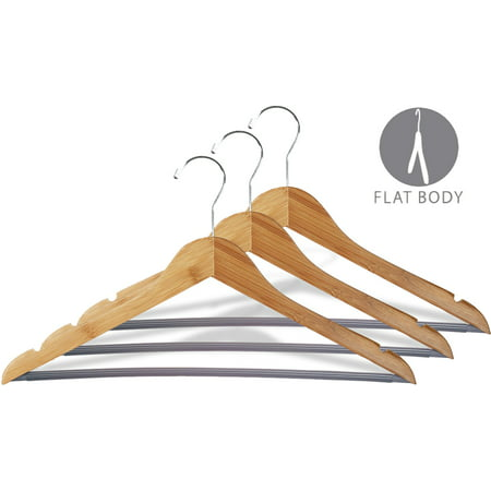 Bamboo Suit Hanger w/ Black Vinyl Bar, Box of 12 Eco-Friendly 17 Inch Flat Wooden Hangers w/ Lacquer Finish & Chrome Swivel Hook for Shirt Jacket or Blouse, by International - Bamboo Hangers