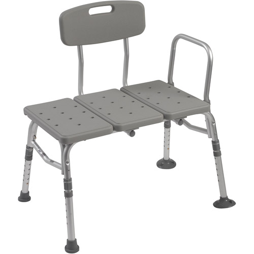 Drive Medical Plastic Tub Transfer Bench with Adjustable Backrest