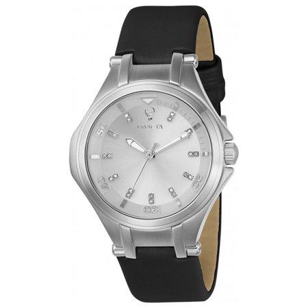 Invicta 23255 Womens Gabrielle Union Silver Tone Dial Black Leather Strap Diamond Watch