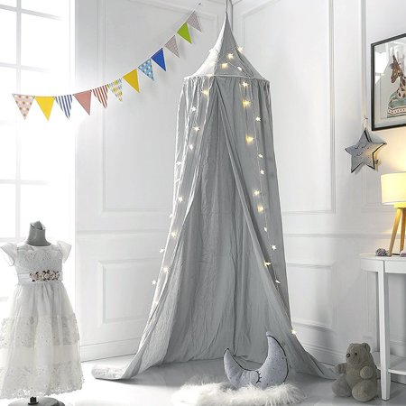 Mosquito Net Bed Canopy Play Tent Bedding for Kids Playing Reading with Children Round Netting Curtains, Baby boys and girls Games House (Gray) for $<!---->