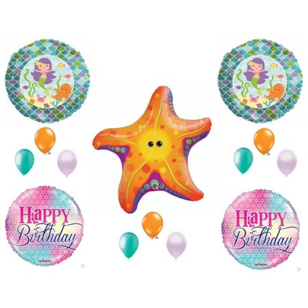 Mermaid & Starfish Birthday Party Balloons Decoration Supplies Ocean Luau Beach - Latex Mermaid
