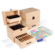 Wooden Essential Oil Multi-Tray Organizer Holds 59 Oils Includes Labels, Bottle Opener Tool, and Pipettes by Aroma Designs