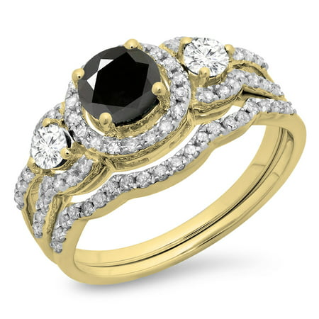 Dazzlingrock Collection 1.40 Carat (ctw) 14K Round Black & White Diamond 3 Stone Halo Engagement Ring Set, Yellow Gold, Size