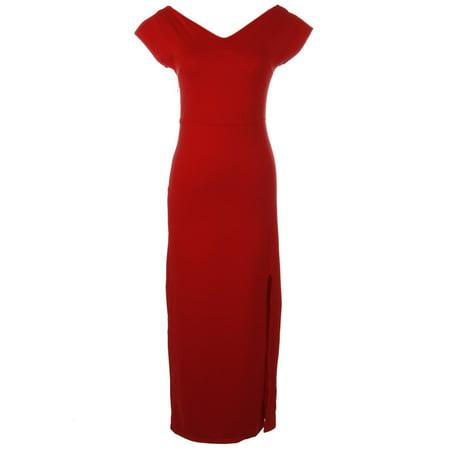 S/M Fit Red Criss Cross Woven Back Straps Side Slit Column Maxi Dress