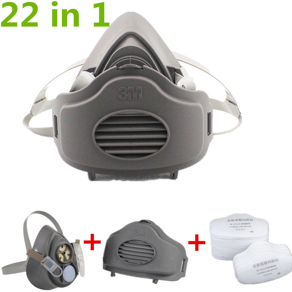 22 IN 1 Head-Mounted Protective Filter Respirator Mask For 3M 3200 Dust Gas Mask by Denuo