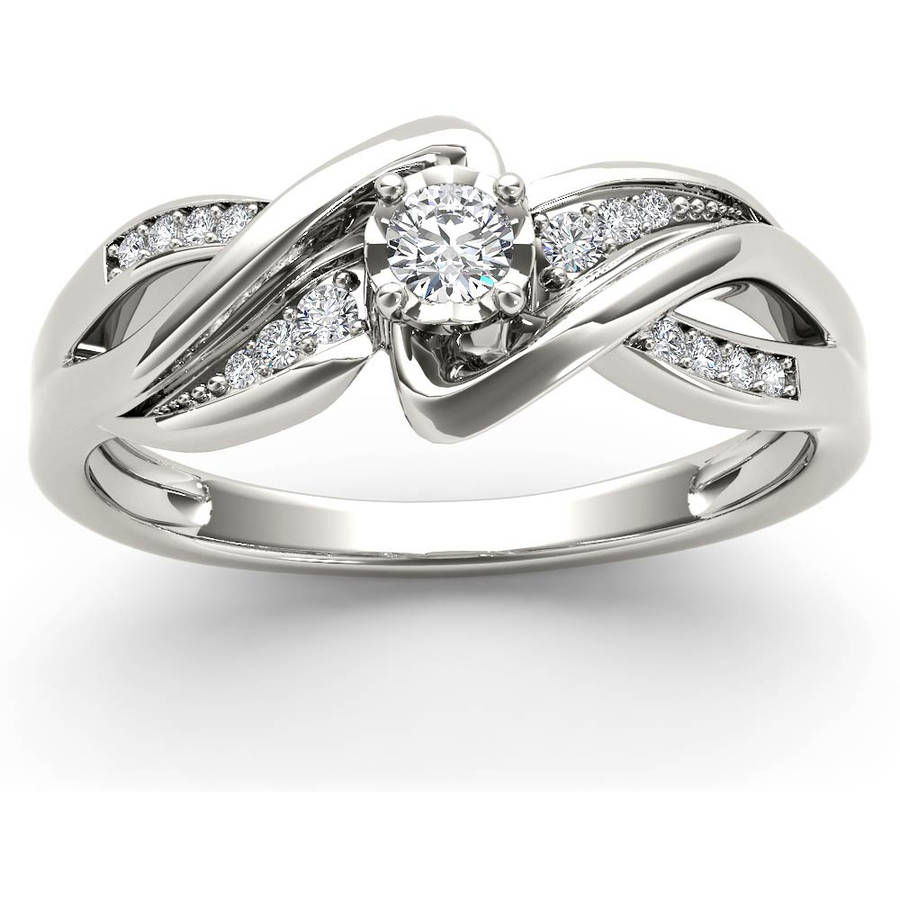 1/6 Carat T.W. Diamond Criss-Criss Shank 10kt White Gold Engagement Ring