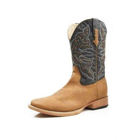 Roper Western Boots Mens Square Stitch Tan Navy 09-020-1900-0012 TA ()