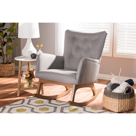 Studio Upholstered Chair - Baxton Studio Waldmann Mid-Century Modern Grey Fabric Upholstered Rocking Chair