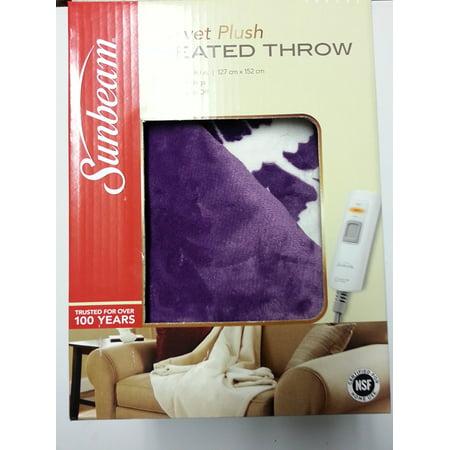 Sunbeam Electric Heated Throw Blanket Velvet Plush Washable with 3-Heat Setting Auto-Off Controller, ( LaticePurple) (Heating Throw Blanket)