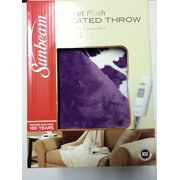 Sunbeam Electric Heated Throw Blanket Velvet Plush Washable with 3-Heat Setting Auto-Off Controller, ( LaticePurple)