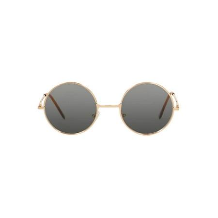 Circular Style Gold Frame Black Lens (Circular Sunglasses Men)